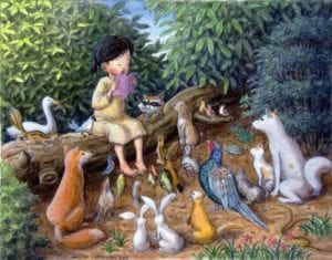 child-reading-to-animals