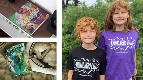 Image of Animal Hero Kids in branded T-shirts black and purple